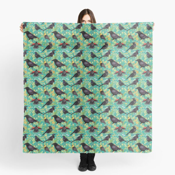Blackbirds, Crows, and Flowers (Blue) Scarf