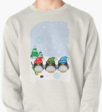 Hockey Penguins with snowflakes hats in a snowy landscape T-Shirt