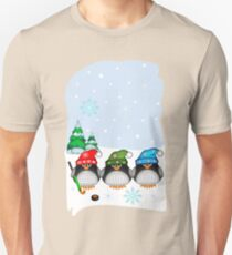 Hockey Penguins with snowflakes hats in a snowy landscape Unisex T-Shirt
