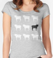 Many White Sheep: One Black Sheep Women's Fitted Scoop T-Shirt