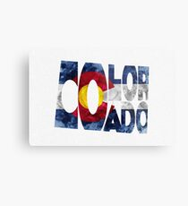 Colorado Typographic Map Flag Metal Print