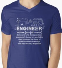 Camiseta para hombre de cuello en v Funny Engineer Definition