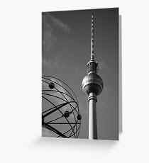 Fernsehturm in schwarz-weiß Greeting Card
