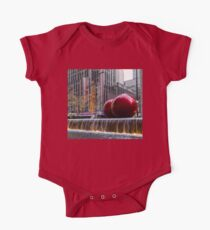 A Christmas Card from New York City – Two Giant Red Balls and Radio City Music Hall  One Piece - Short Sleeve