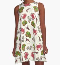 Seafood Medley on Cream A-Line Dress
