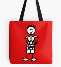 The boy with the spiky hair - red Tote Bag