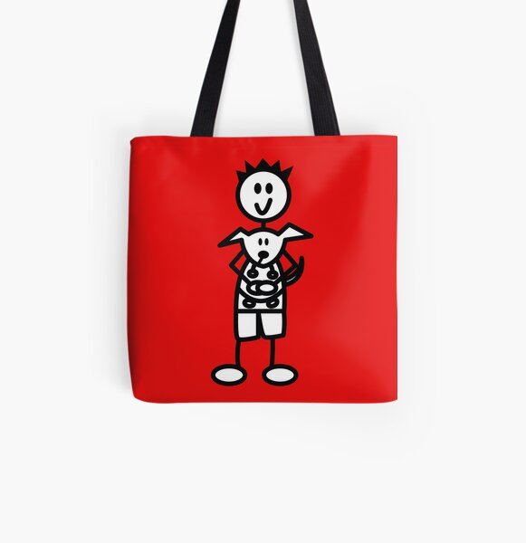 The boy with the spiky hair - red All Over Print Tote Bag