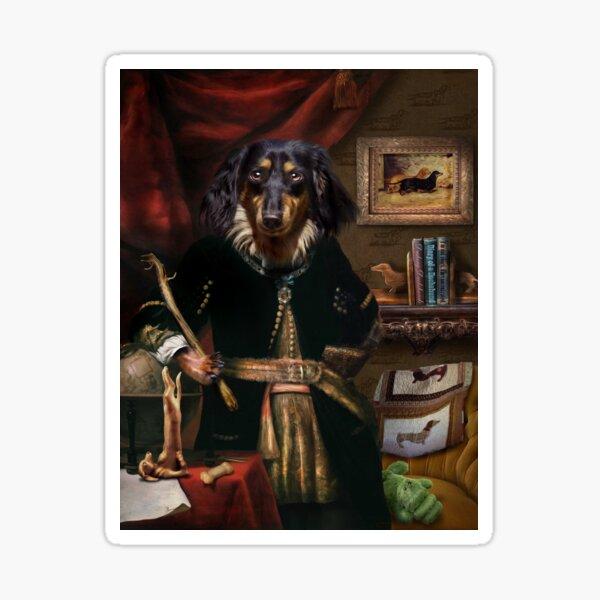 Long haired Daschund Dog Portrait - Andy  Sticker
