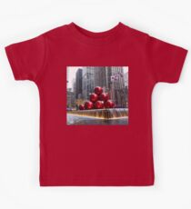 A Christmas Card from New York City - Giant Red Balls Pyramid and Radio City Music Hall  Kids Tee