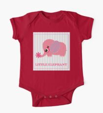 Cute girl elephant illustration for apparel or other uses,in vector. Baby showers, parties for baby girls. One Piece - Short Sleeve