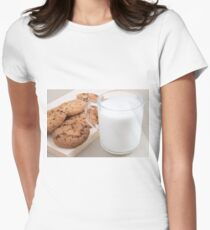 Cup with milk and oatmeal cookies Women's Fitted T-Shirt