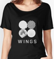 BTS Wings Logo (Black) Women's Relaxed Fit T-Shirt