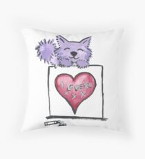 Kitty Love - Purrple Kitten Throw Pillow