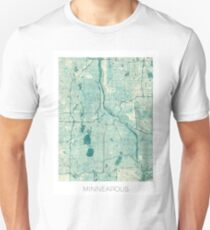 Minneapolis Map Blue Vintage Unisex T-Shirt