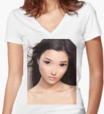 Young asian woman anime style beauty portrait art photo print Women's Fitted V-Neck T-Shirt