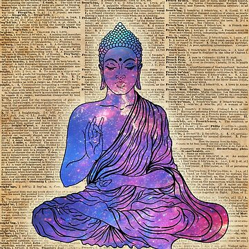 Space Buddha Dictionary Art by DictionaryArt