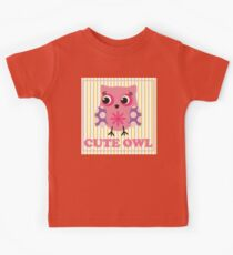 Cute girl owl illustration for apparel or other uses,in vector. Baby showers, parties for baby girls. Kids Clothes