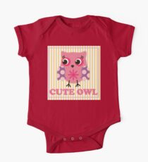Cute girl owl illustration for apparel or other uses,in vector. Baby showers, parties for baby girls. One Piece - Short Sleeve