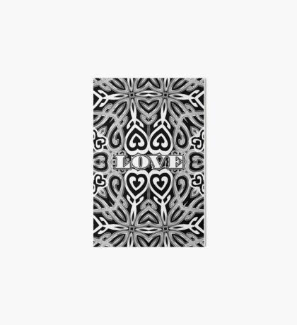Ornate Love Hearts | Black and White Art Board