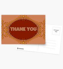 Golden Fractal Lace Thank You Card Postcards