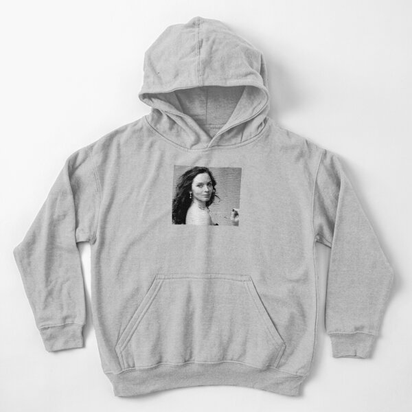 Emily Blunt Black & White Portrait Made Of Dots Kids Pullover Hoodie