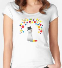 snowman snowman colorful taut rainbow cute winter christmas Women's Fitted Scoop T-Shirt