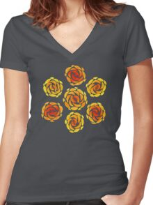 Yellow Rose Flower Pattern Women's Fitted V-Neck T-Shirt