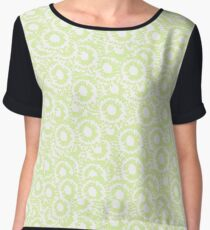 Cool modern swirls pale green white pattern   Chiffon Top