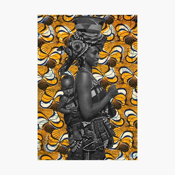 African mother with baby on her back art with African material Photographic Print