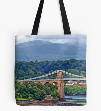 Snowdonia - seen from the Welsh village of Llanfairpwllgwyngyllgogerychwyrndrobwllllantysiliogogogoch, on the Island of Anglesey, Wales. Tote Bag