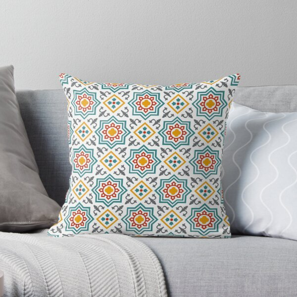 Oriental Vintage Geometric Traditional Andalusian Moroccan Tiles Style Throw Pillow
