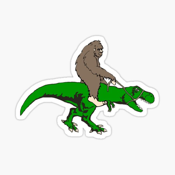 Bigfoot riding T rex Sticker