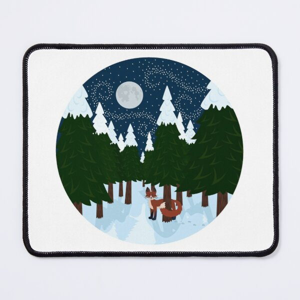 Fox in snowy woods at night Mouse Pad