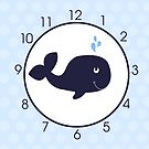 Navy Blue Whale Cute Wall Clock with Light Blue Dot Border by JessDesigns