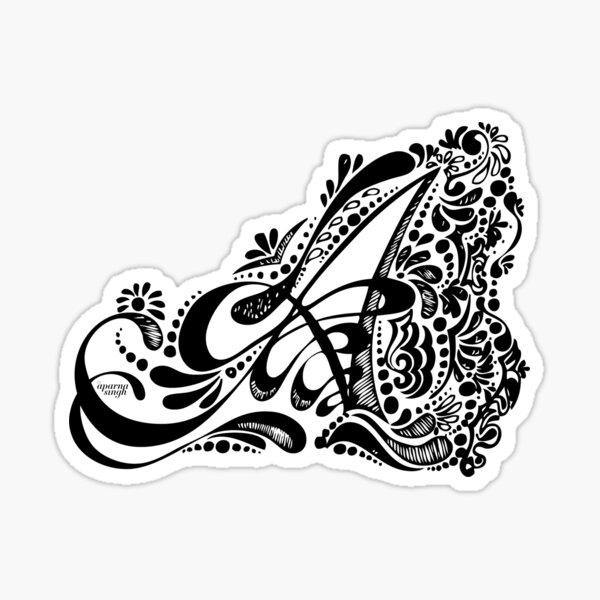 A - Monogram Henna Artwork Pattern Sticker