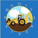 Backhoe Construction Boys Room Wall Clock  by JessDesigns