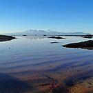 Winter Arran Reflection on Seamill Beach 1 by George Crawford