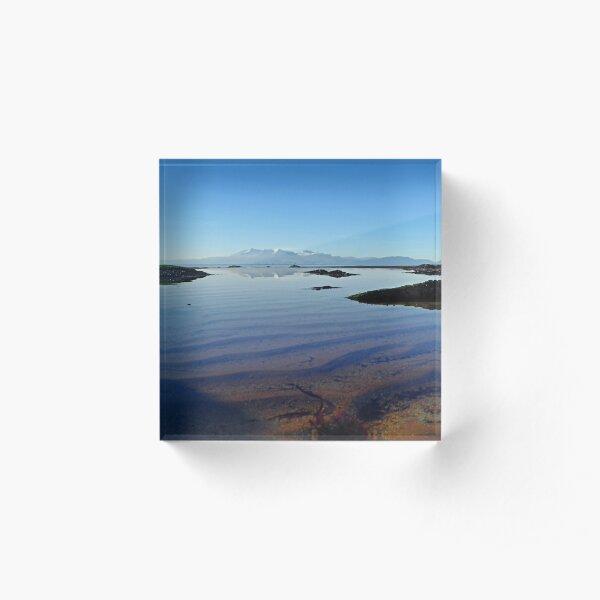 Winter Arran Reflection on Seamill Beach 1 Acrylic Block