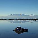 Winter Arran Reflection on Seamill Beach 2 by George Crawford