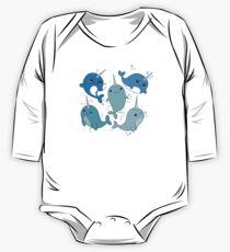 Body de manga larga para bebé Patrón Narwhal