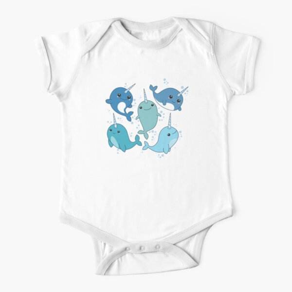 Narwhal Pattern Short Sleeve Baby One-Piece