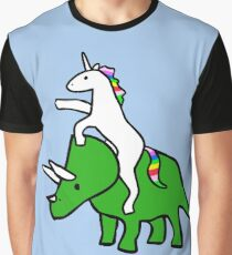 Unicorn Riding Triceratops Graphic T-Shirt