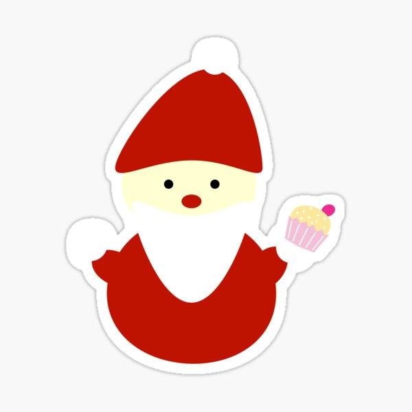 santa with cupcake Sticker
