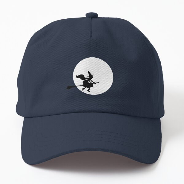 Witch sillhouette on the moon - Halloween pattern black and white by Cecca Designs Dad Hat