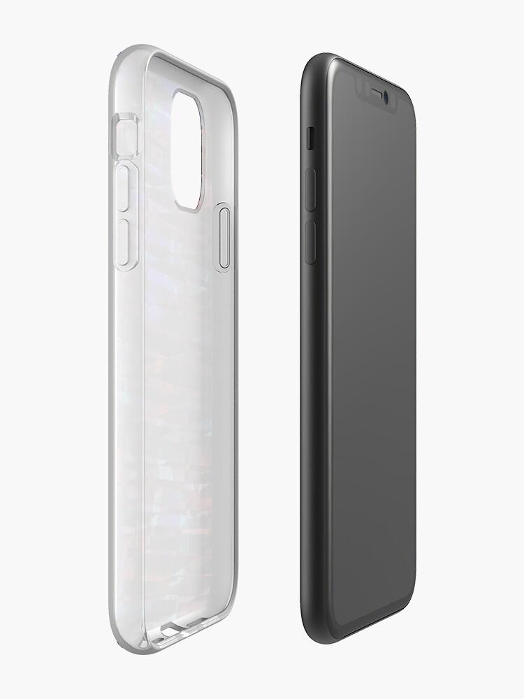 Coque iPhone «Lettres au néon rougeoyantes sur fond en bois texturé foncé», par BrunoBeach
