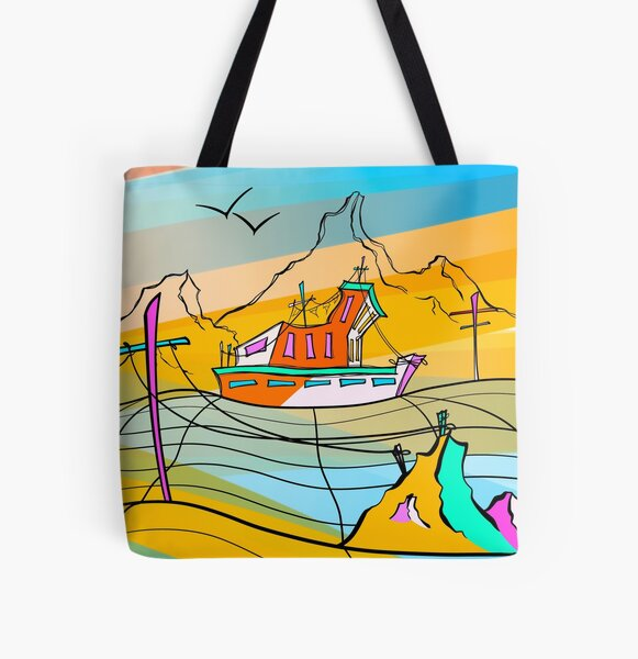 A Curved Neck All Over Print Tote Bag