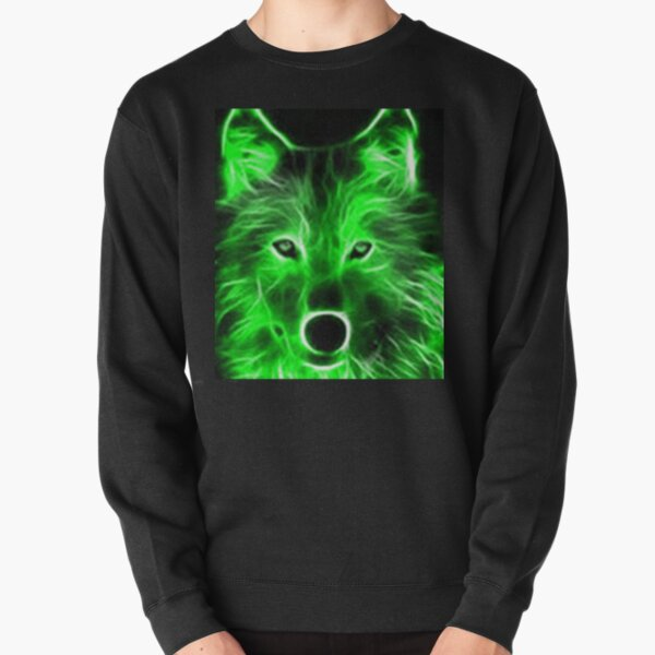 An amazing neon green wolf on a black background Pullover Sweatshirt