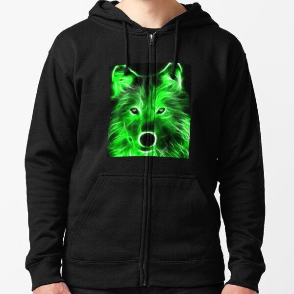 An amazing neon green wolf on a black background Zipped Hoodie