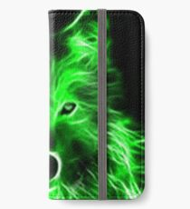 An amazing neon green wolf on a black background iPhone Wallet/Case/Skin
