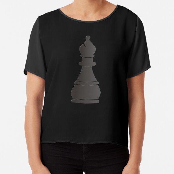 Black bishop chess piece Chiffon Top